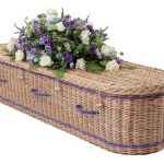 Curved End Willow Coffin with Purple Bands